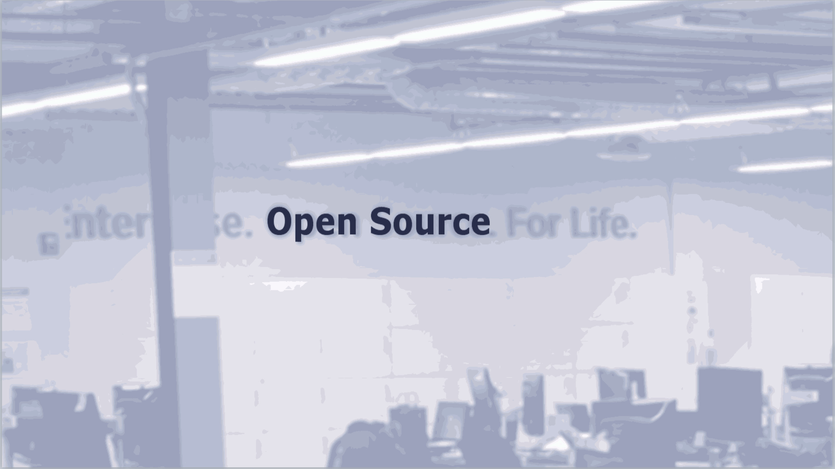 "Picture of Liferay's office with ""Open Source"" sign highlighted"